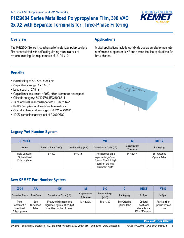KEMET PHZ9004 Series Plastic Film Capacitors