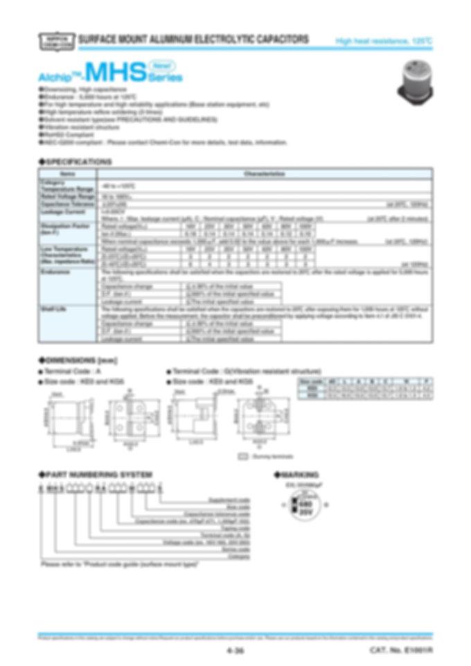 Nippon Chemi Con MHS Series Aluminum Electrolytic Capacitors
