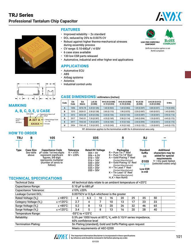 AVX TRJ Series Tantalum Capacitors