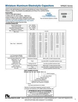 NIC Components NRSZC Series Radial Aluminum Electrolytic Capacitors