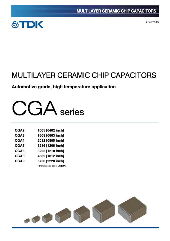 TDK CGA Series High Temperature MLC Chip Capacitors