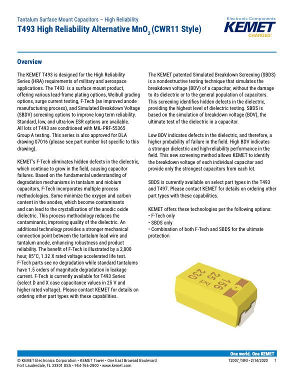 KEMET T493 Series Tantalum Capacitors