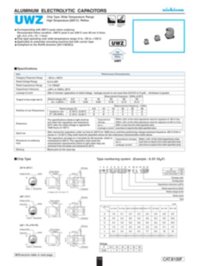 Nichicon UWZ Series Aluminum Capacitors