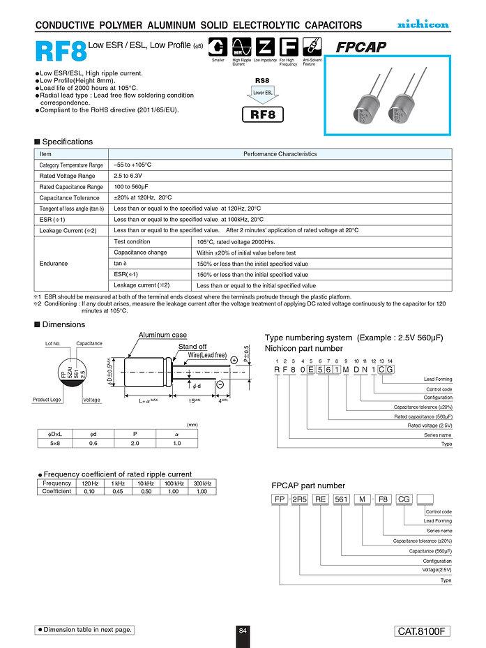 Nichicon RF8 Series Aluminum Polymer Capacitors