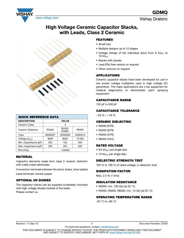 Vishay GDMQ Series High Voltage Ceramic Capacitors