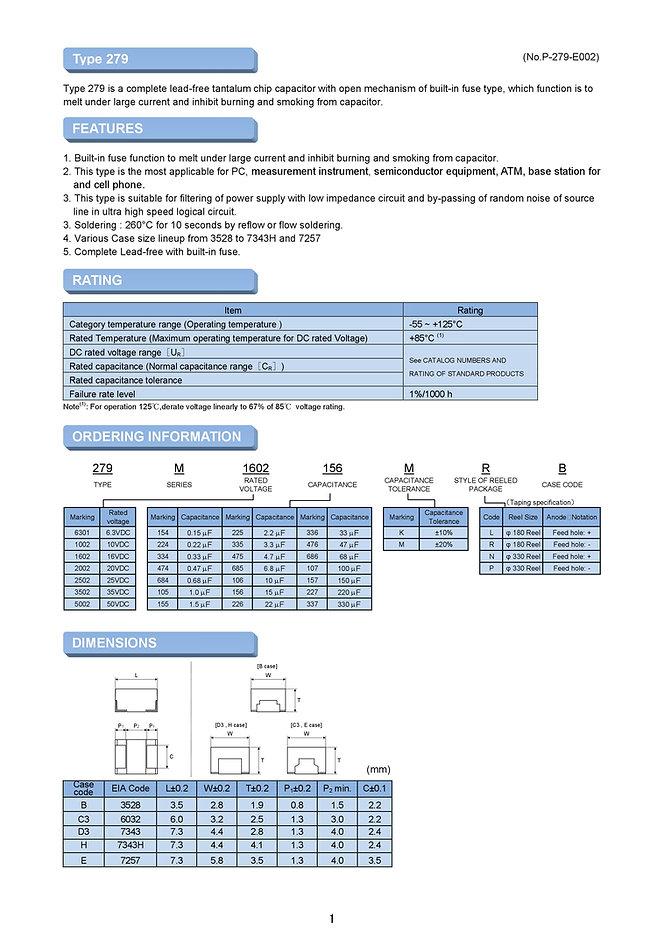 Matsuo 279M Series SMT Tantalum Capacitors