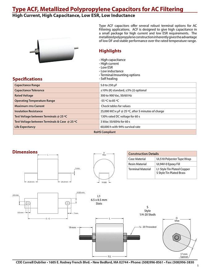CDE Type ACF Plastic Film Capacitors