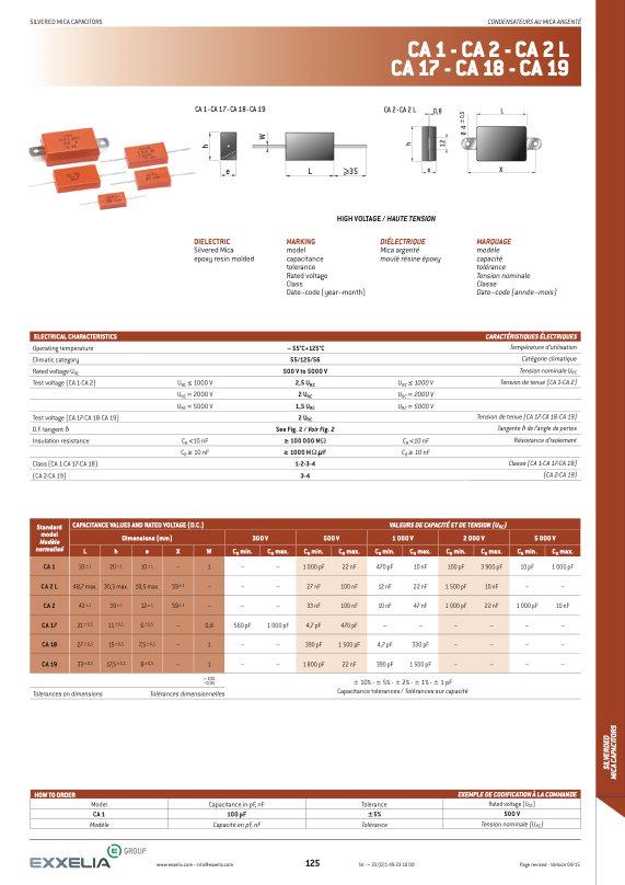 Exxelia CA 1 Series High Voltage Mica Capacitors