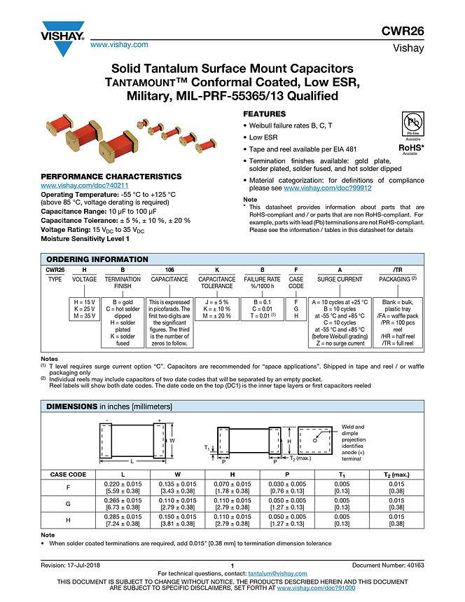 Vishay CWR26 Series Tantalum Capacitors