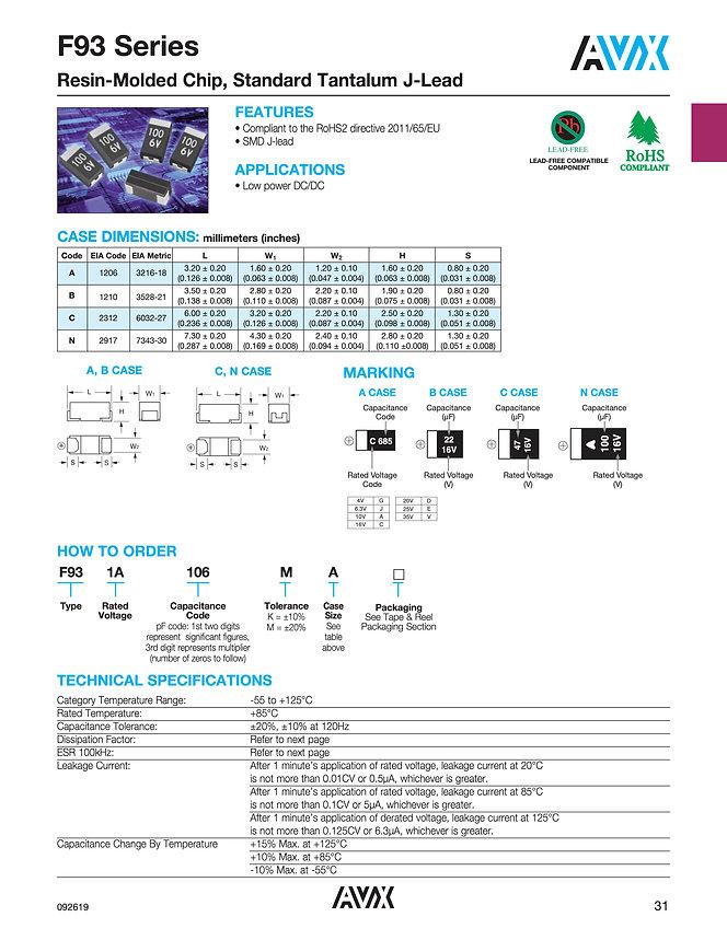 AVX F93 Standard Series Tantalum Capacitors