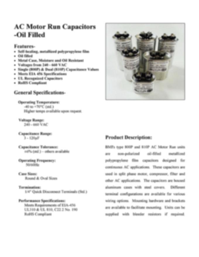 Barker Microfarads Motor Run Capacitors