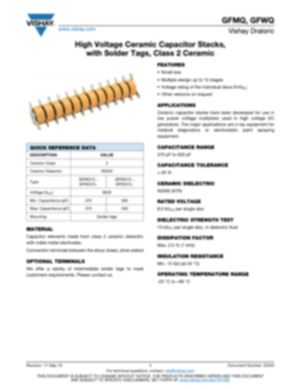 Vishay GFMQ, GFWQ Series High Voltage Ceramic Capacitors