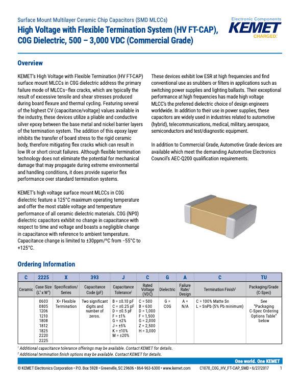 KEMET COG High Voltage Automotive Grade MLC Capacitors