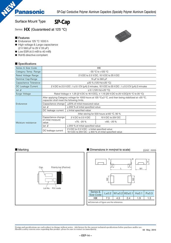 Panasonic HX Series SMT Aluminum Polymer Capacitors
