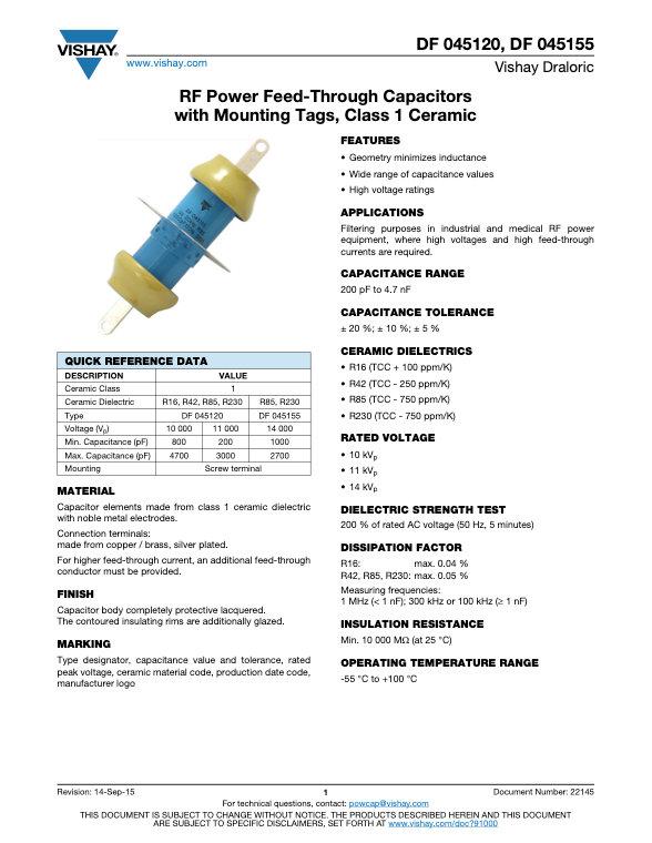Vishay DF 045... Series RF Ceramic Capacitors