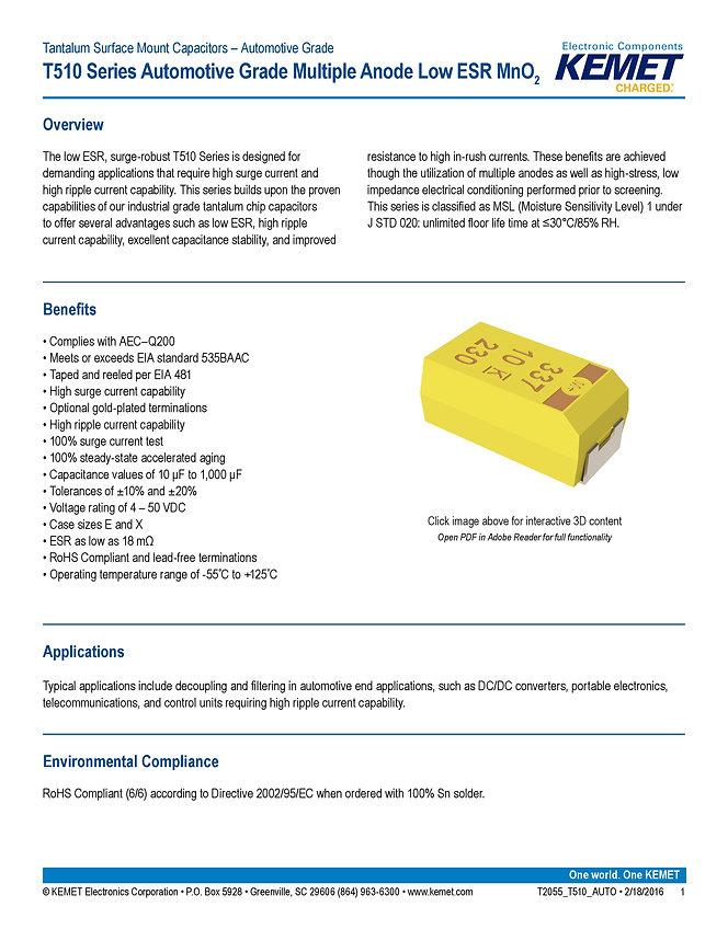 KEMET T510 Automotive Grade Tantalum Capacitors