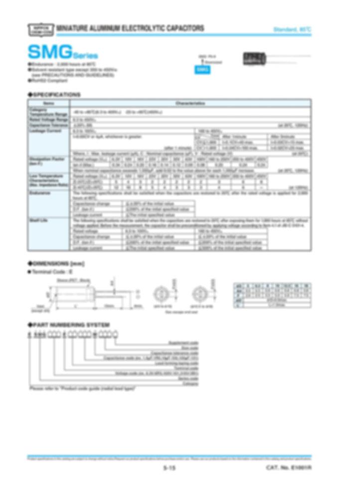 Nippon Chemi Con SMG Series Aluminum Electrolytic Capacitors