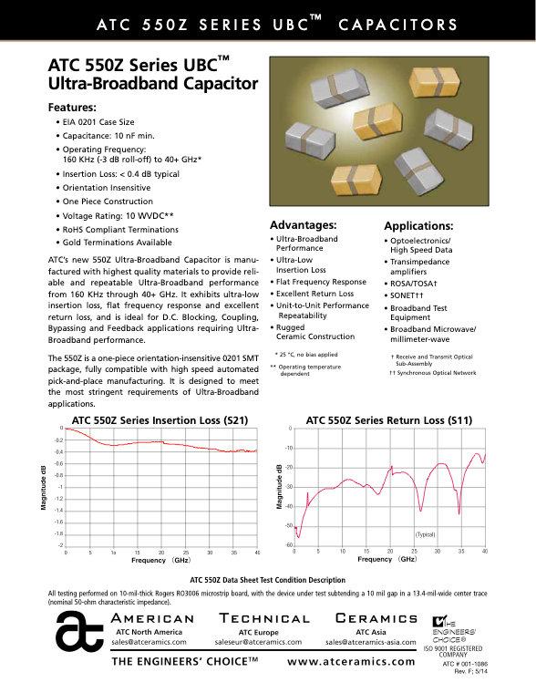 ATC 550Z Series Ultra Broadband Chip Capacitors