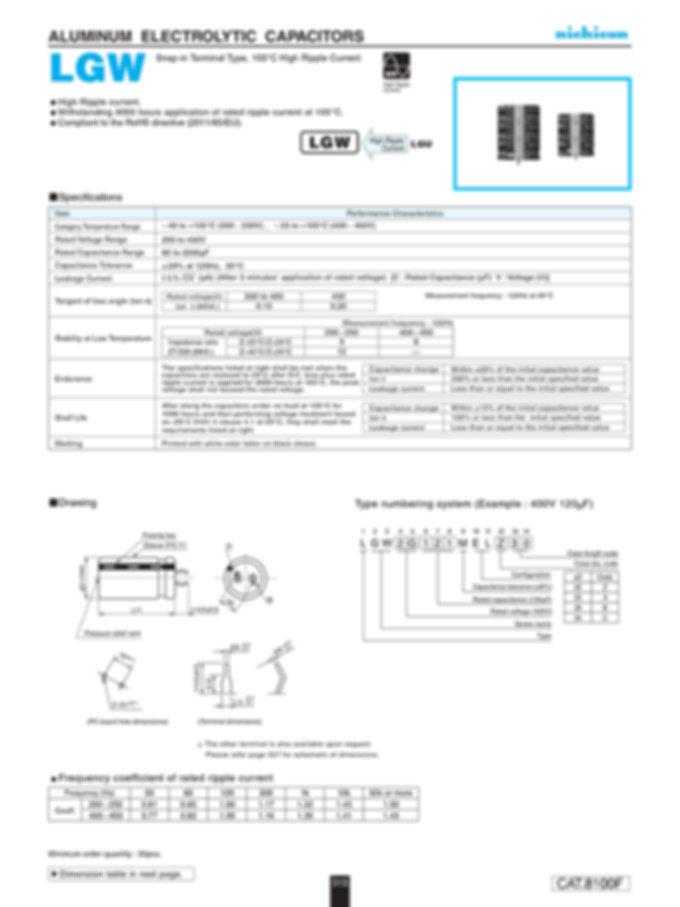 Nichicon LGW Series Aluminum Electrolytic Capacitors
