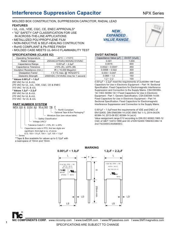 NIC Components NPX Series Film Capacitors
