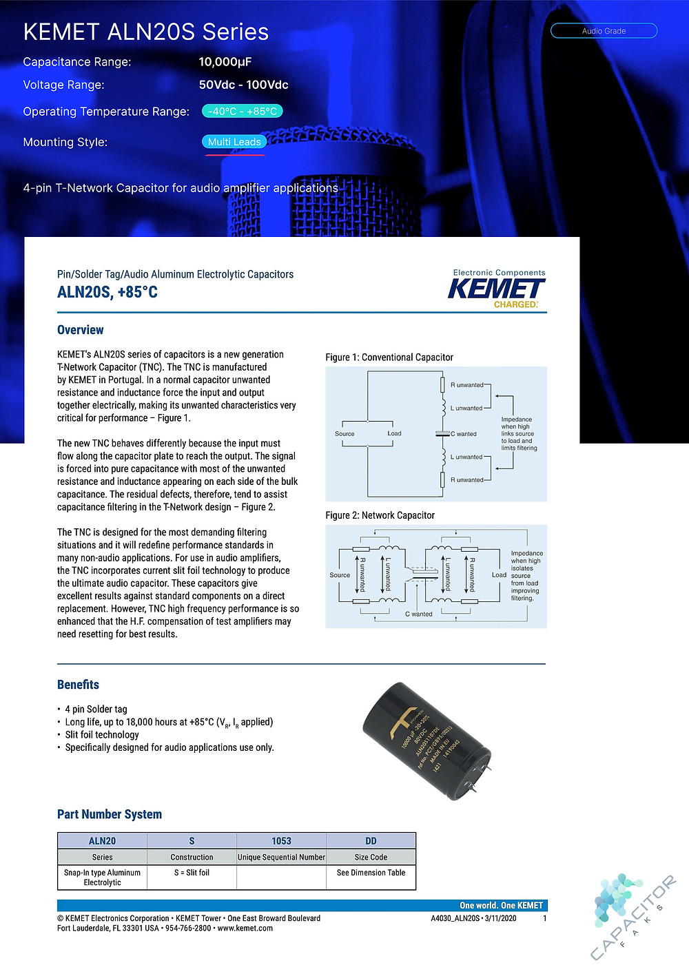 KEMET ALN20S Series Capacitor Data Sheet