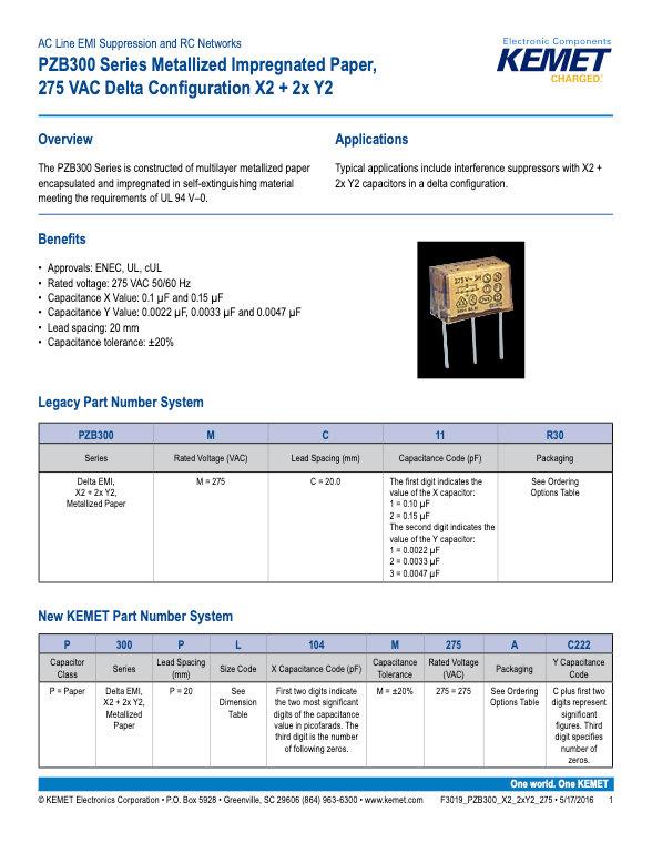 KEMET PZB300 Series Plastic Film Capacitors