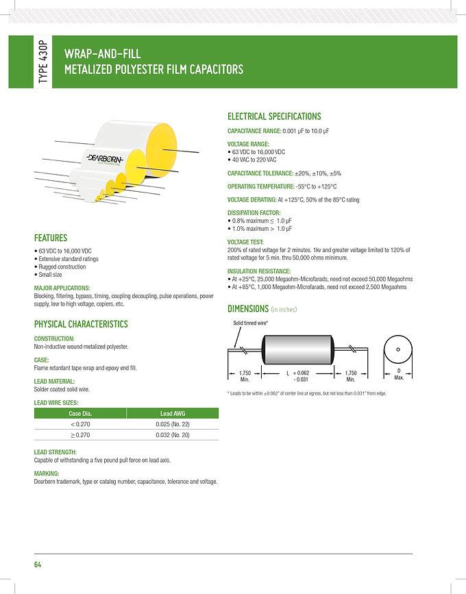 Exxelia 430P Series Plastic Film Capacitors