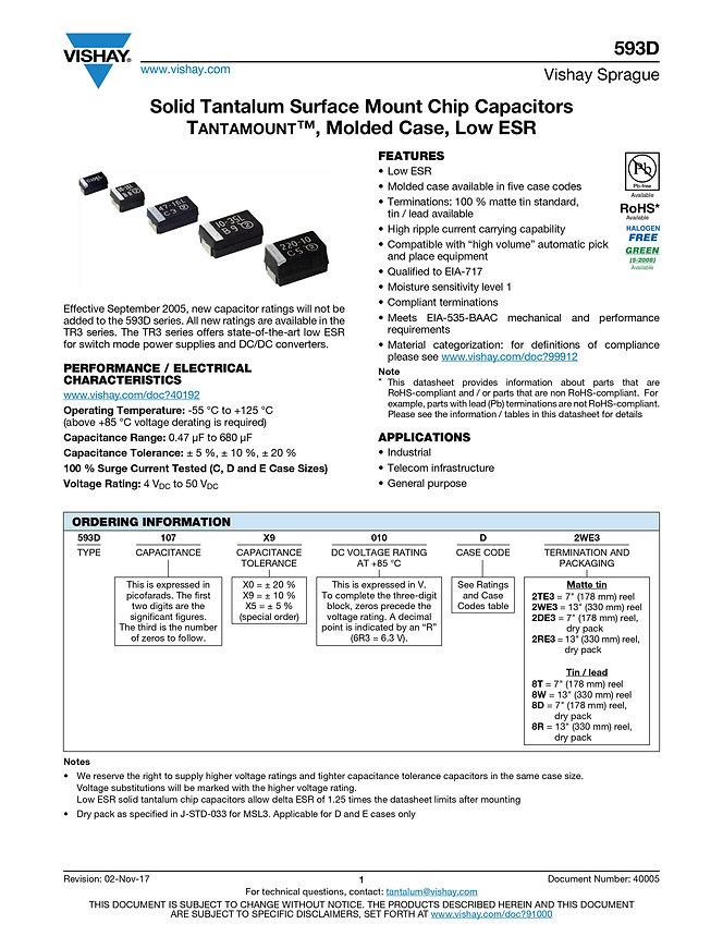 Vishay 593D Series Tantalum Capacitors