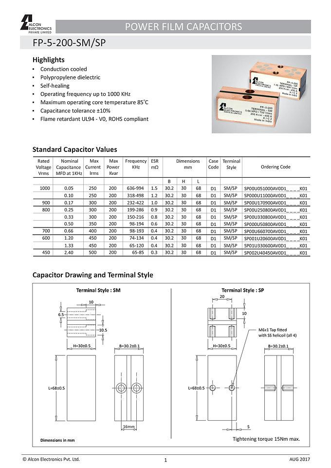 Alcon Electronics FP-5-200 Series Film Capacitors