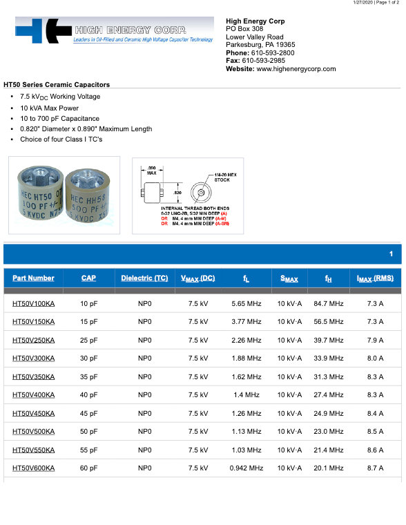 High Energy Corp. HT50 Series