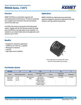KEMET PEH526 Series Aluminum Electrolytic Capacitors