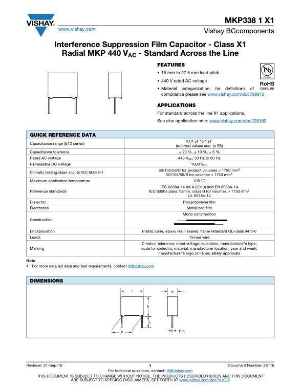 Vishay MKP338 1 X1 Series Plastic Film Capacitors
