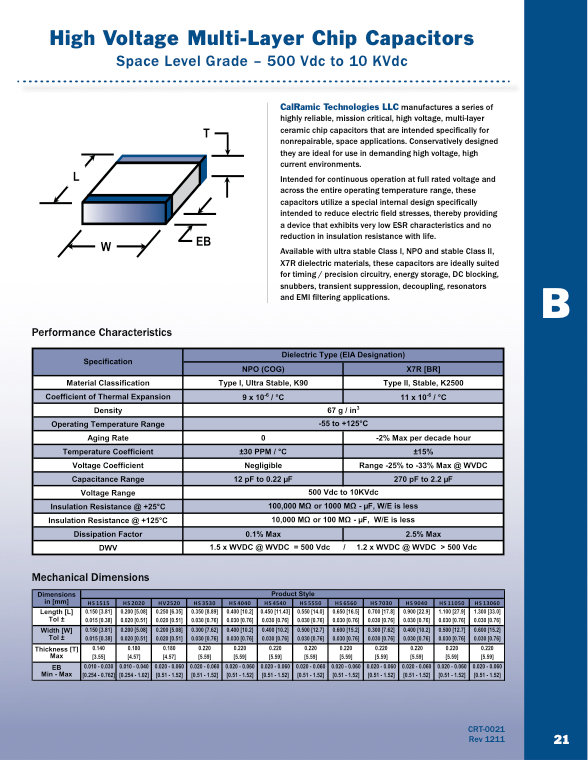 Calramic Space Grade High Voltage MLC Chip Capacitors