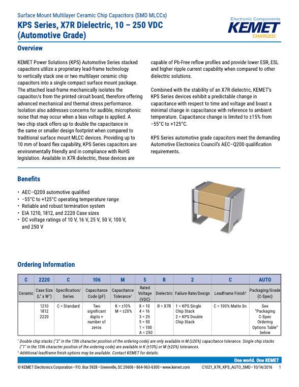 KEMET KPS Series X7R Automotive Grade Capacitors