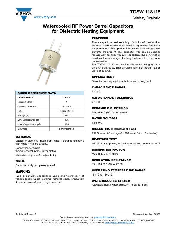 Vishay TOSW 118115 Series RF Ceramic Capacitors