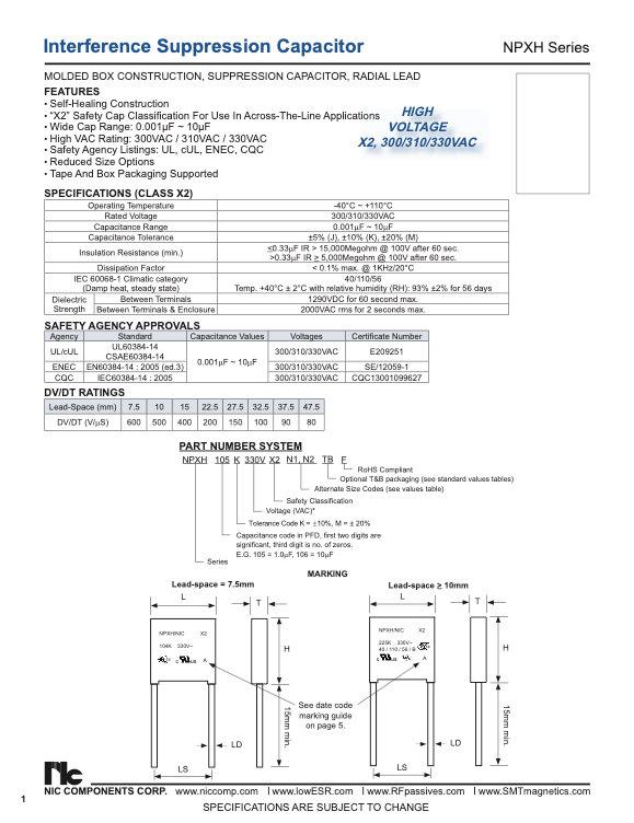 NIC Components NPXH Series Film Capacitors