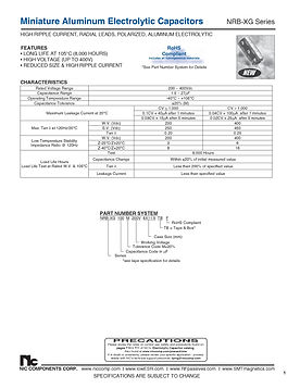 NIC Components NRB XG Series Radial Aluminum Electrolytic Capacitors