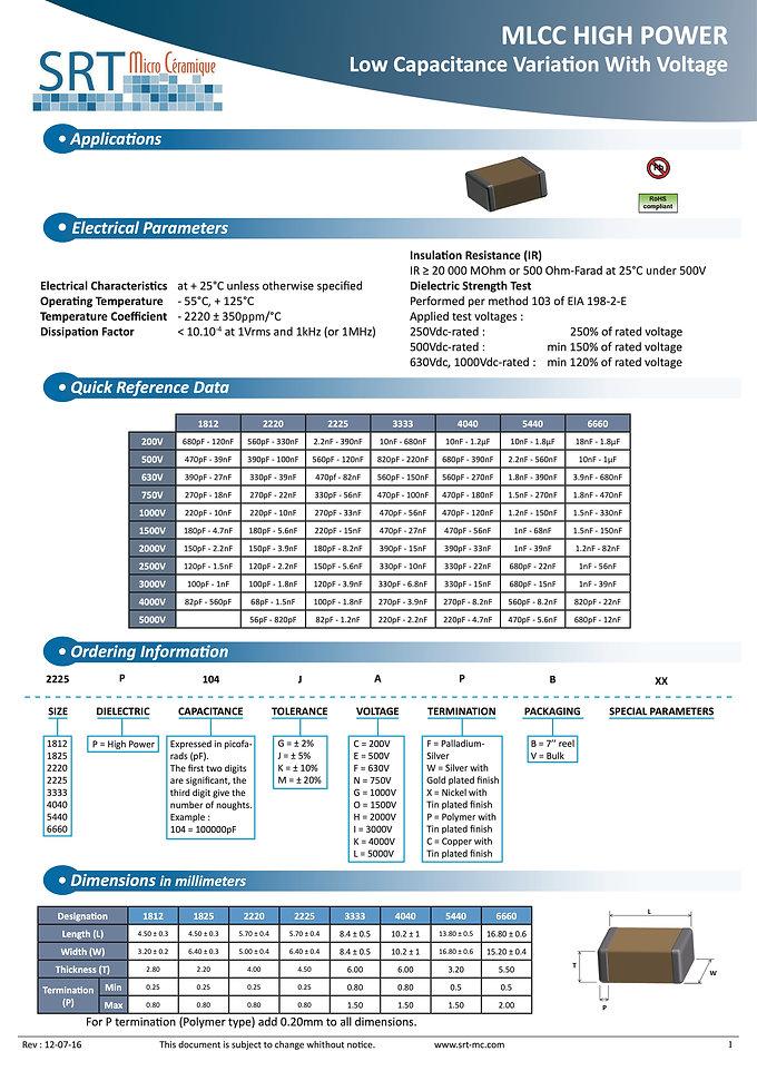 SRT Microceramique High Power MLC Capacitors
