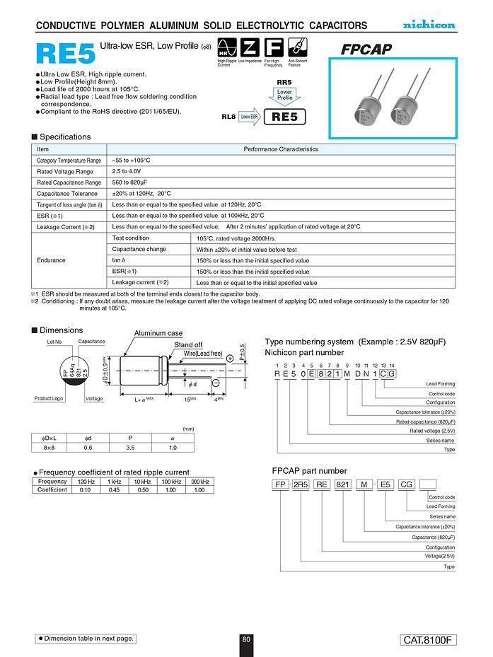 Nichicon RE5 Series Aluminum Polymer Capacitors