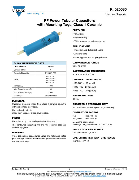 Vishay RA 020080 Series RF Ceramic Capacitors