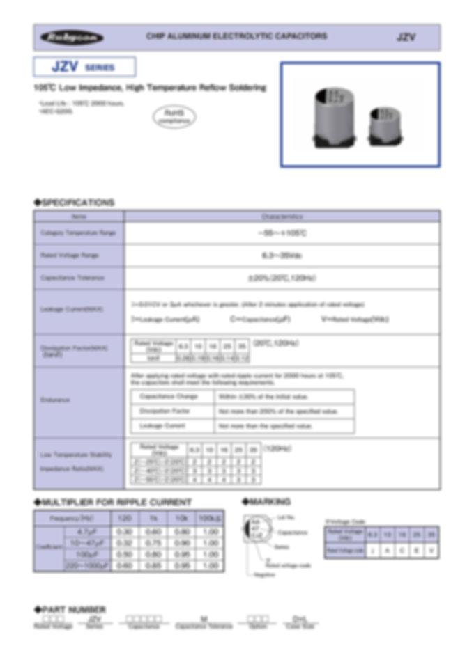 Rubycon JZV Series Aluminum Electrolytic Capacitors