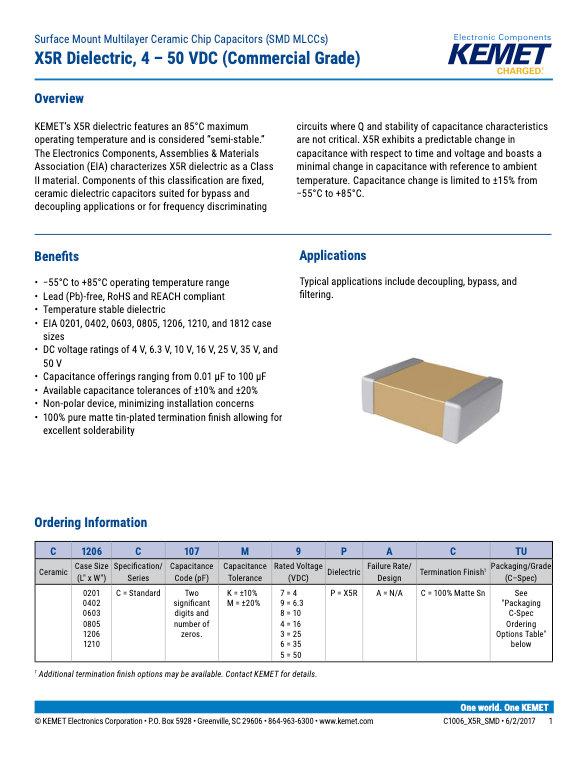 KEMET Commercial Grade SMT X5R MLC Capacitors