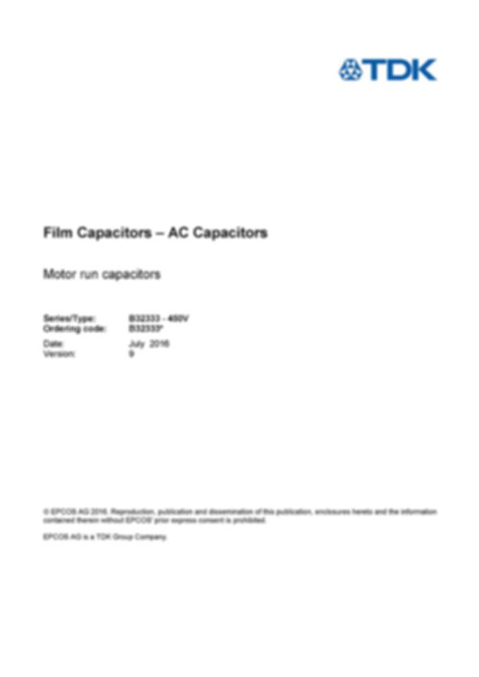 Epcos B32333 Series Motor Run Capacitors