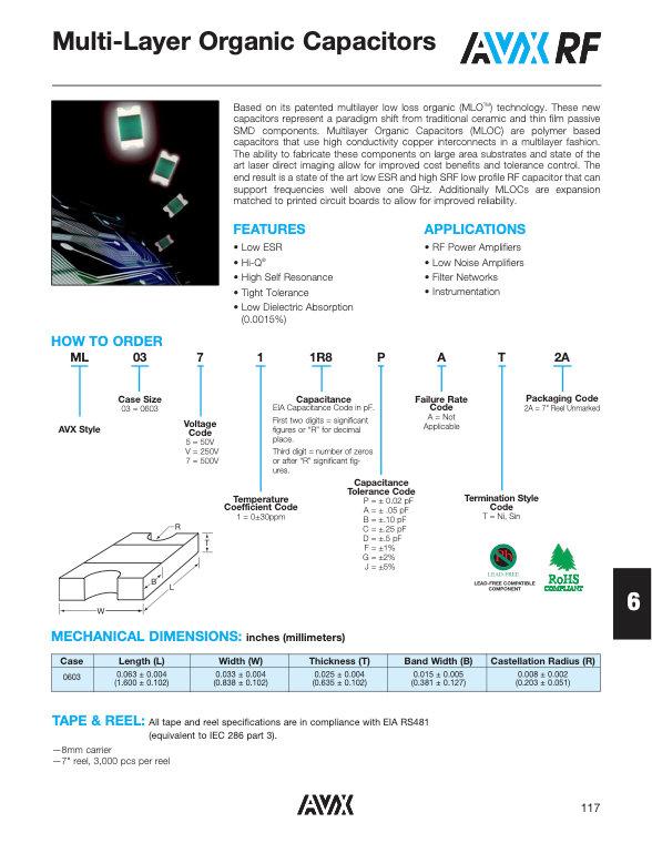 AVX Multilayer Organic Chip Capacitors