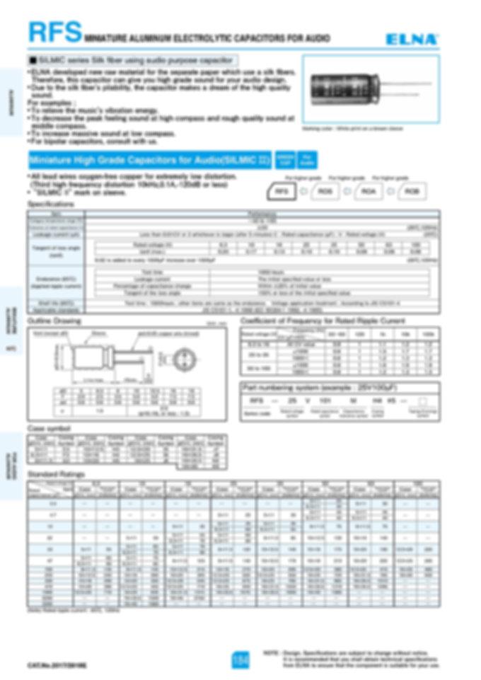 Elna RFS Series Aluminum Capacitors