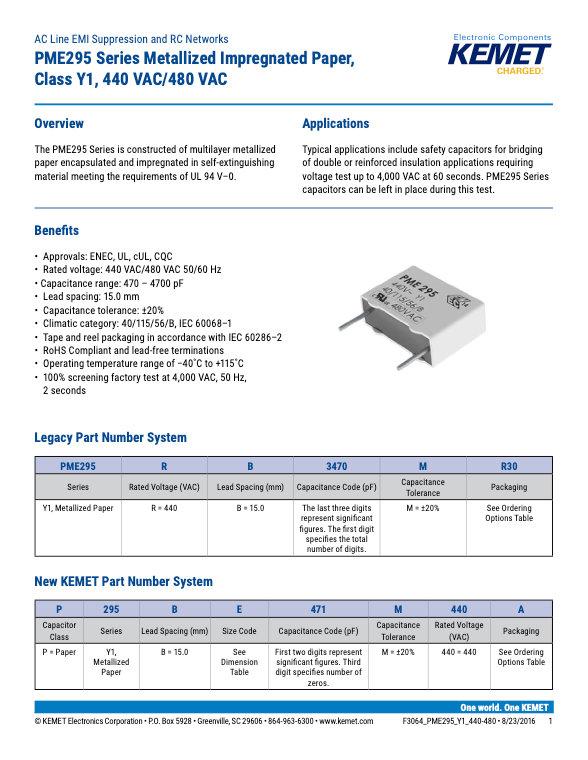 KEMET PME295 Series Plastic Film Capacitors