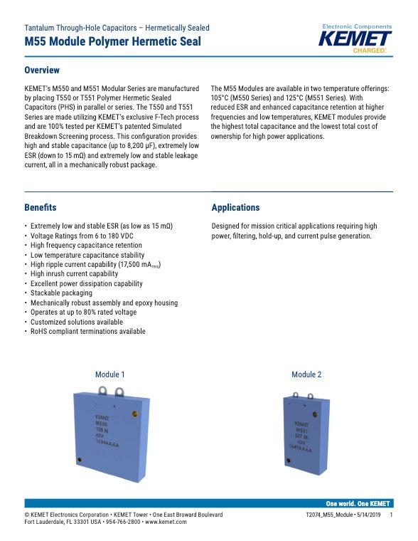 KEMET M55 Series Tantalum Capacitor Modules
