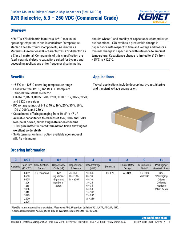 KEMET Commercial Grade SMT X7R MLC Capacitors