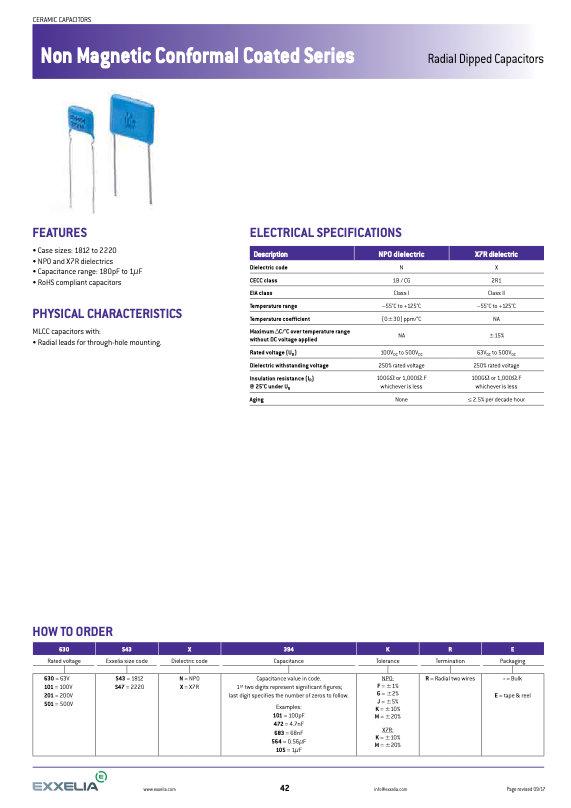 Exxelia Non Magnetic Radial Leaded MLC Capacitors