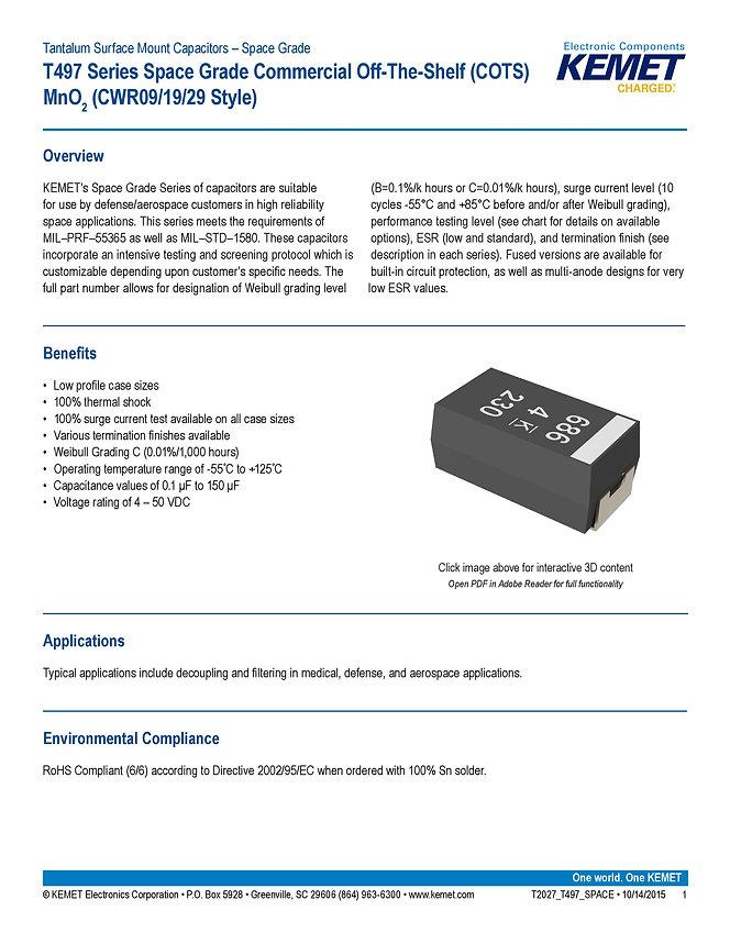 KEMET T497 Space Grade Series Tantalum Capacitors